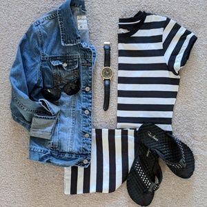 Adam Levine Black/White Striped T-Shirt Dress